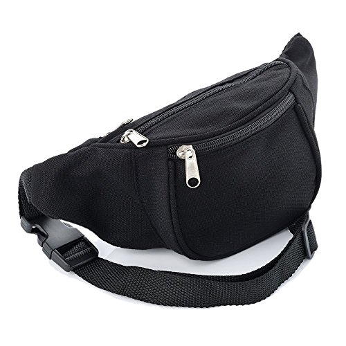 Black Fabric Bum Bag/Fanny Pack - Festivals/Club Wear/Holiday Wear