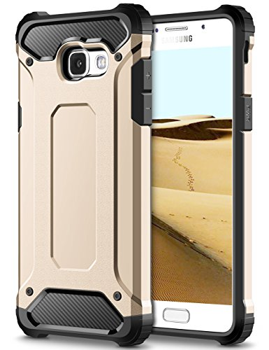 Coolden Samsung Galaxy A5 2017 Hülle, Premium [Armor Serie] Outdoor Stoßfest Schutzhülle Tough Silikon + Hard Bumper 4 Air Cushion Ecken Militärstandard Handyhülle für Samsung Galaxy A5 2017(Gold)