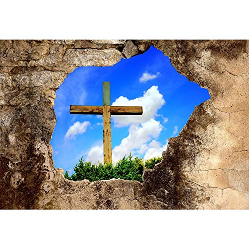 Leyiyi Easter Backdrop for Photography 9x6ft Wooden Cross Grass Blue Sky White Clouds Resurrection Religious Stone Wall Background God Bless Baptism Baby Shower Photo Portrait Vinyl Studio Prop