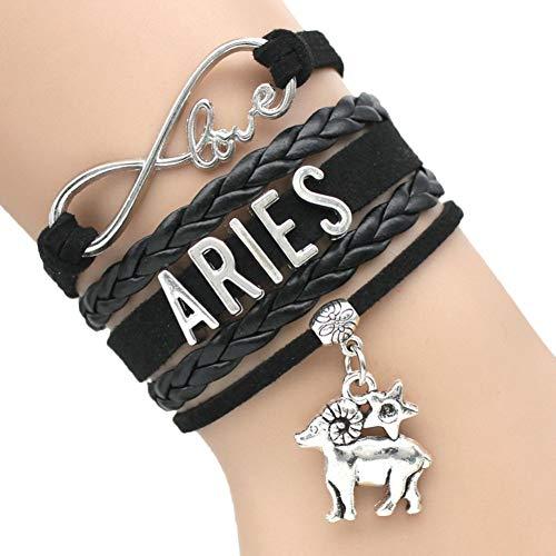 MSIKIU armband oneindigheid liefde 12 sterrenbeeld Ram Taurus Gemini Kanker Maagd Schorpioen Vissen Zodiac teken armbanden