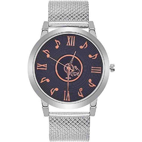 OLUYNG Reloj de Pulsera Reloj Creativo para Mujer, Nota Musical, Esfera de Malla, Reloj de Pulsera de Cuarzo analógico de Acero Inoxidable para Mujer, Relojes de Lujo