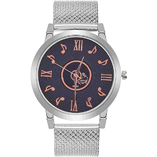 OLUYNG Reloj de Pulsera Banda de Malla Reloj Nota Musical Dial Reloj de Pulsera de Cuarzo analógico de Acero Inoxidable Mujer Señora Relojes Montre