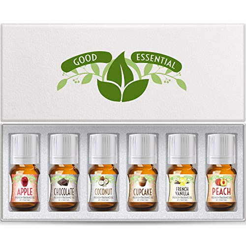 Fragrance Oils Set of 6 Scented Oils from Good Essential- Apple Oil, Chocolate Oil, Coconut Oil,...