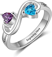 Personalized Infinity Promise Rings with 2 Simulated Birthstones Free Engraving Name Rings for Women Best Friend Rings Meaningful Anniversary Rings Love Rings for Women Christmas for Her