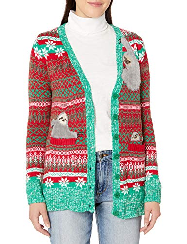 Blizzard Bay Women's Ugly Christmas Santa Sweater, Red/Yellow/Green, Small