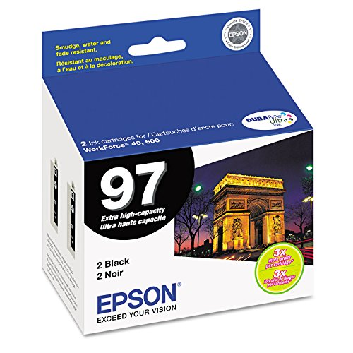 Epson No. 97 T097120-D2 Extra-High Capacity Black Ink Cartridge For WorkForce 600 and WorkForce 40 Printers, 2-Pack