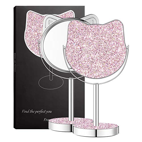 Kitty Shape Makeup Vanity Mirror,Colourful Glittering Mirror,Chirstmas Gift Best Choice for Girlfriend Teenage Women (Pink/Large Size)