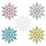30 Stück Weihnachten Schneeflocke Dekorationen, Schneeflocken Weihnachten Deko, Weihnachten Schneeflocken Anhänger, Verwendet für Weihnachtsdekoration, Winterparty, Hochzeit, 5 Farben