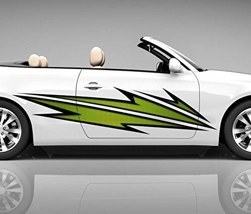 2x Seitendekor 3D Autoaufkleber Blitze grün Digitaldruck Seite Auto Tuning bunt Aufkleber Seitenstreifen Airbrush Racing Autofolie Car Wrapping Tribal Seitentribal CW151, Größe Seiten LxB:ca. 160x40cm