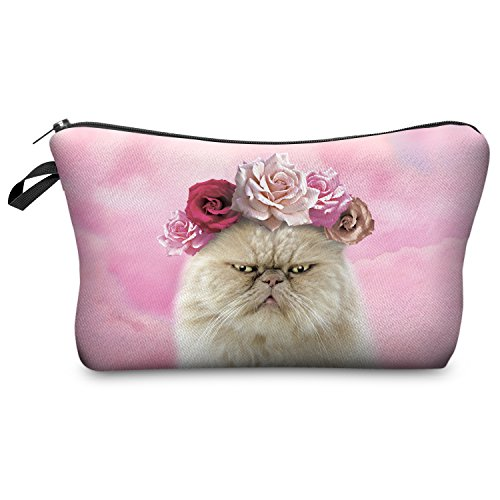 Fringoo Women's Make Up Bag Travel Pouch Organiser Wash Bag Holder Pencil Case Roses Cat