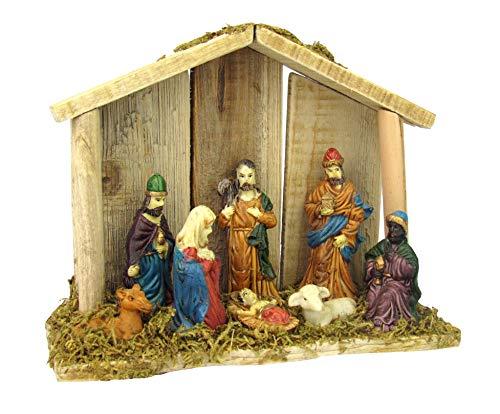 Kerststal XXL van hout, incl. Figuren, versierd met mos, 20 x 16 x 6,5 cm