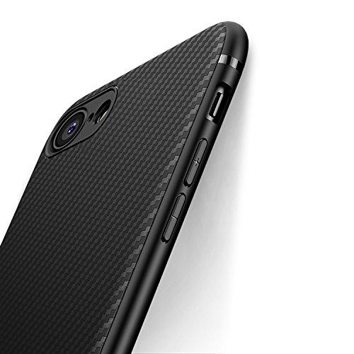 J Jecent Coque iPhone SE 2020 / iPhone 7 / iPhone 8 [Texture Fibre de Carbone] Silicone TPU Souple Bumper Case Cover de Protection Non Slip Surface Housse Etui Anti-Choc et Anti-Rayures 4,7″ - Noir