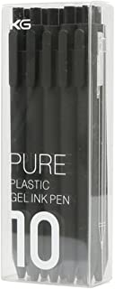 Kaco Pure Black 0.5mm Extra Fine Point Retractable Gel ink Pen,Pack of 10