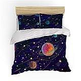 Galaxy Juego de funda de edredón doble, 3 piezas, diseño de planetas astronómicos celestes, juego de cama The Universe Láctea Way funda de edredón de microfibra con cielo estrellado (A05)