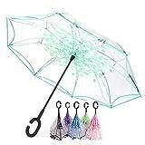 OldPAPA Paraguas Invertido Transparente, Paraguas Plegable, Reversible, con protección contra Rayos...