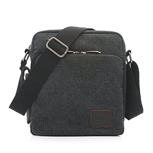 Mens small canvas bags, MiCoolker Multifunction Versatile Canvas Messenger Bag Handbag Crossbody Shoulder Bag Leisure Change Packet Black
