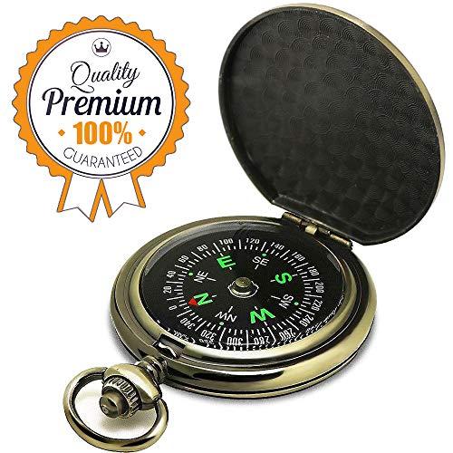 ydfagak Compass Premium Portable Pocket Watch Flip-Open Compass Camping Hiking Compass Outdoor Navigation Tools (Copper)