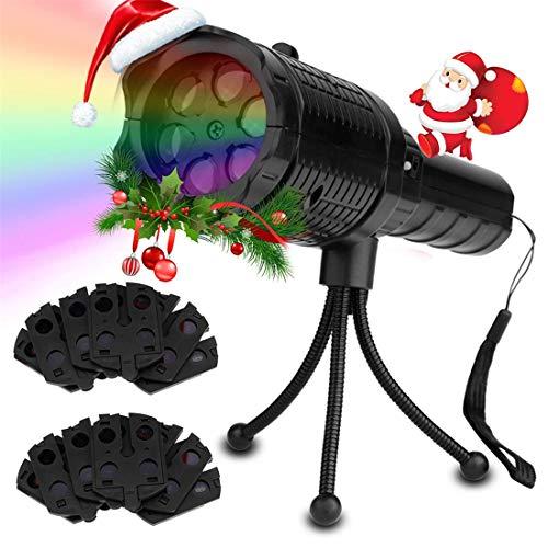 Luci del proiettore di Natale, luci del proiettore portatile a LED con 12 modelli di diapositive, luce del proiettore 2-in-1 e modalità torcia per Halloween, Natale, decorazioni di compleanno