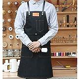 Lqchl Correa De Cuero Delantal Babero Lienzo Barber Barista Floristería Chef Camarero Carpintero Jardinero Pintor Uniformes Ropa De Trabajo,M