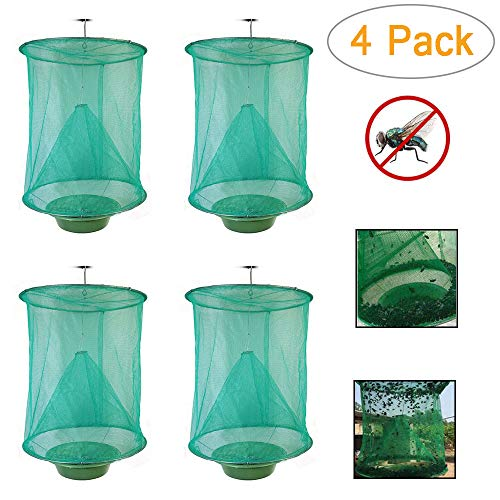 2019 Ranch Fly Trap Flycatcher Folding Hanging Fly Cage Mesh Net with Food Bait Flay Catcher HighEfficiency Insect Catching forResidential AreasGarden Ranch Farms and More