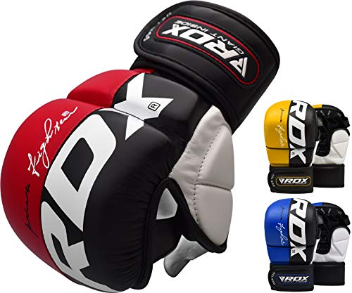 RDX MMA Handschuhe Profi UFC Kampfsport Sparring Freefight Sandsack Trainingshandschuhe Grappling Gloves (M, Rot)