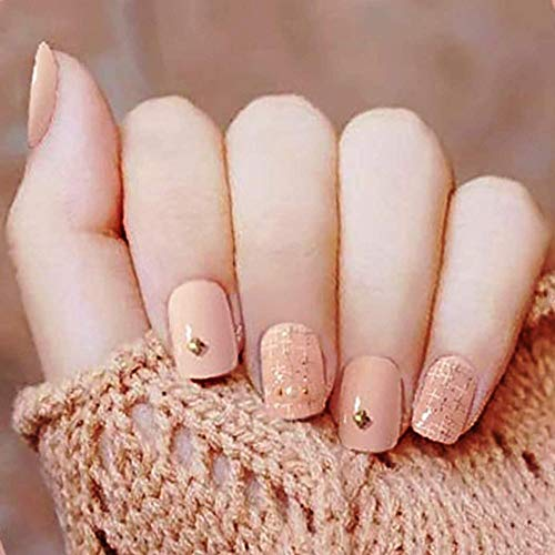 CSCH Faux ongles False Nails Square Shaped Short Fake Nails Glossy Artificial Nails Full Cover Nails Stick On Nails 24 Pcs Set for Women or Girls(Almond)