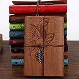 Senrise, Taccuino vintage con fogli ricaricabili con copertina con foglie goffrate, con ciondoli rétro, diario di viaggio (confezione da 1, colore rosso)