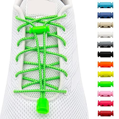 BENMAX SPORTS Schnürsenkel ohne Binden - Elastische Gummi Schuhbänder, Elastisch Schnellverschluss Elastic Shoelaces, Kinder Schuhe Zubehör, 1 Paar - 120 cm - 12 Bunte Farben (Neon Grün, 1 Paar)