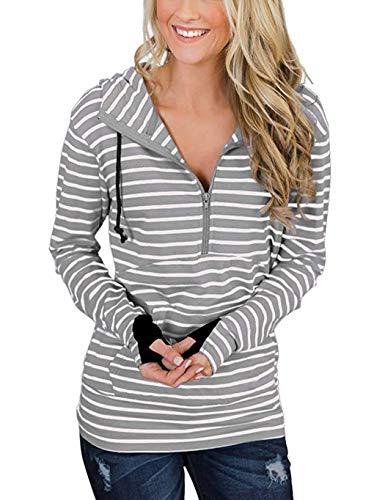 cokil Damen Gestreift Kapuzenpullover Langarm Sweatshirt Slim Pullover Tops Oberteile mit Reißverschluss und Daumenloch Grau S M L XL