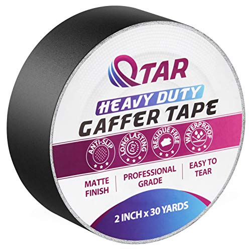 Premium Grade Black Gaffer Tape - 2 Inch x 30 Yards Heavy Duty Gaff Tape with Non-Reflective Matte Finish for Indoor & Outdoor, Waterproof Duct Tape, Electrical Tape