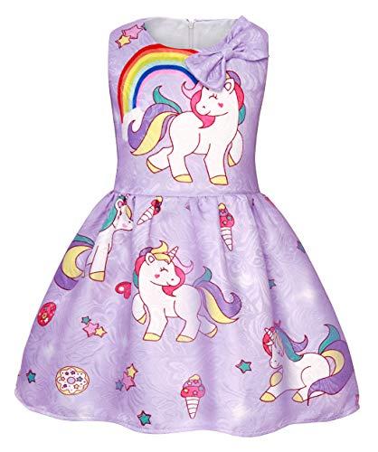 AmzBarley Einhorn Kostüm Kleid Kinder Einhörner Kleidung Mädchen Ärmellos Beiläufig Prinzessin Kleider Geburtstag Urlaubs Party Karneval Zeremonie Ankleiden, Lila 02, 5-6 Jahre