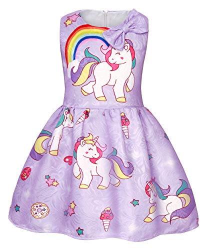 AmzBarley Meisjes Eenhoorn Jurk Prinses Mouwloos Avond Feestjurken voor Kinderen Vakantie Verjaardag Dressing up Kinderen Eenhoorns Regenboog Outfit Kleding