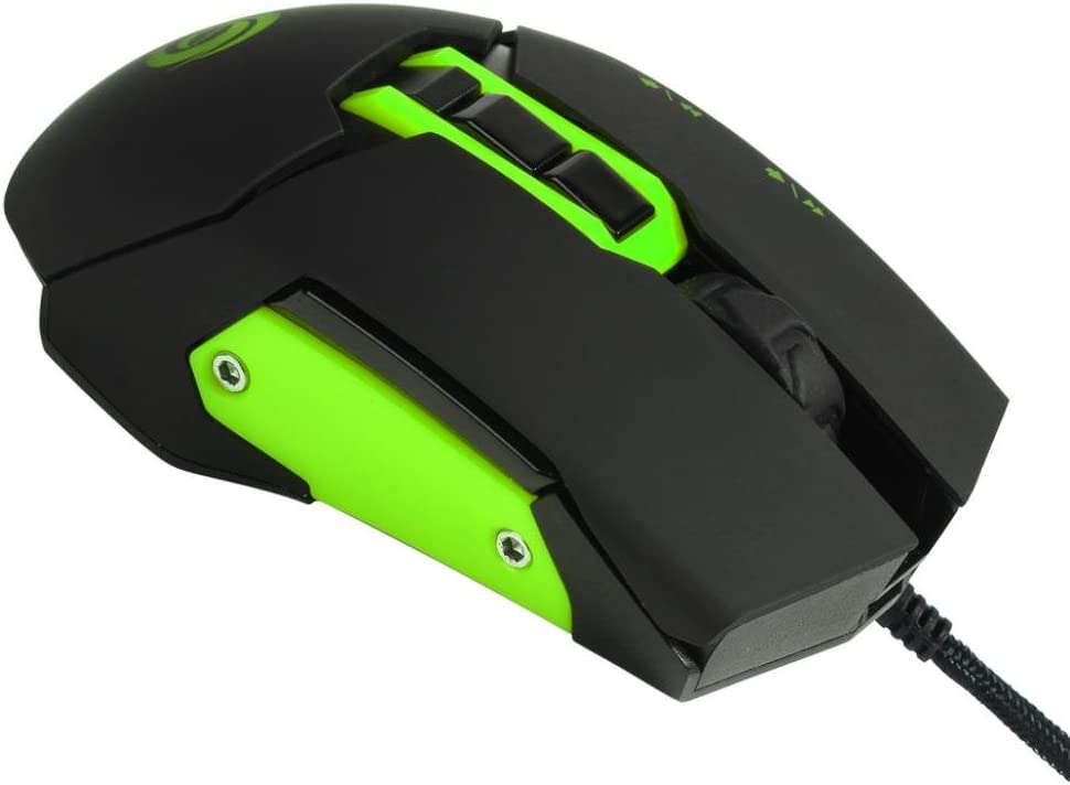 Green Left and Right Hand The Same feel Cool Glowing Mouse,Efaster Nine key Design Game Mouse