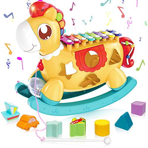 Baby Xylophone Musical Toys - 5 in 1 Einstein Musical Toy Set with Building Blocks, Plays Music, Flashes Lights – Music Learning & Educational Kids Birthday Gift Toy – for Babies 6+ Months