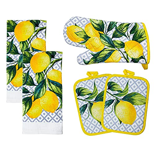 """Franco Kitchen Designers Soft and Absorbent Cotton Towels with Pot Holders and Oven Mitt Linen Set, 15"""" x 25"""", Citrus Lemons"""