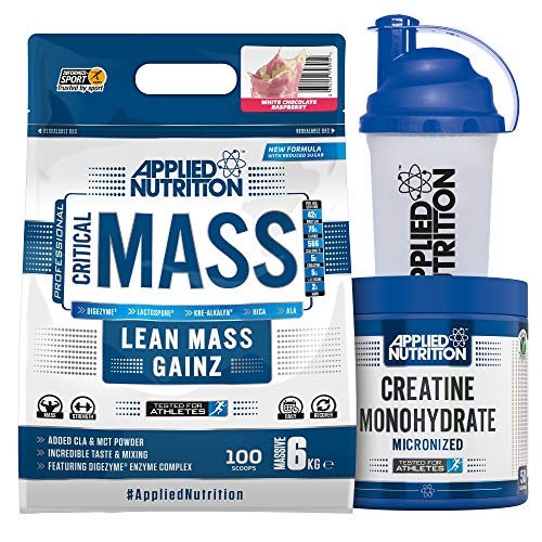 Applied Nutrition Bundle Critical Mass Protein Powder 6kg + Creatine Monohydrate 250g + 700ml Shaker | High Mass Gainer, Serious Weight Gain Supplement with BCAA (White Chocolate Raspberry)
