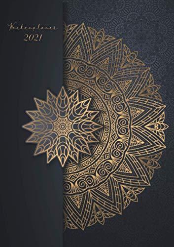 Wochenplaner 2021 « Schwarz Gold Mandala »: Wochenplaner Taschenkalender 2021 | orientalisches Muster | Kleinformat A5 | Um alle Ihre Termine und ... bis Dezember 2021 zu notieren | 124 Seiten