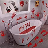 Halloween Bloody Handprints Window Wall Stickers -...