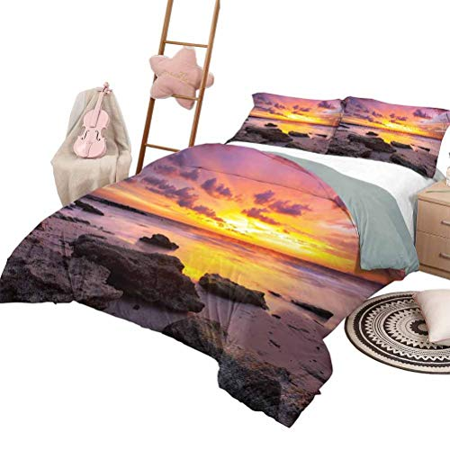DayDayFun Quilt Set with Sheets Tropical Quilt Set for Children Sunset at The Beach Horizon on Island Magical Idyllic Weather Landscape King Size Mauve Salmon Lilac