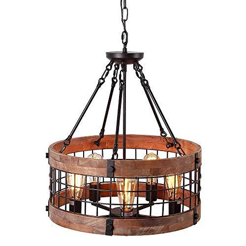 Retro-Amerikaanse LED-kroonluchter, industrieel windlicht, kaarslicht voor woonkamer, bar, retro decoratie voor thuis, e27 hoogwaardige smeedijzer + houten behuizing