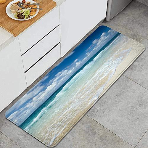 """Tapis de cuisine lavable,Plage avec vagues mousseuses sur le thème de vacances de bord de mer vide Côte sereine,tapis antidérapant doux super absorbant pour porte de cuisine salle de bains 47.2""""x17.7"""""""