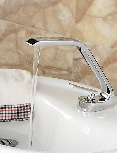 BBSLT-stile contemporaneo maniglia un foro bagno di acqua calda e fredda lavello rubinetto - argento