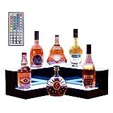 Nurxiovo 20'' 2 Step LED Liquor Bottle Display Shelf Lighted Illuminated Bottle Shelf Corner LED Display Shelf DIY Mode with LED Color Remote Control for Home Bar L19-3/5xW19-3/5xH6-3/5''