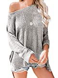 Yenlow Womens Off Shoulder Sweaters Batwing Sleeve Loose Slit Oversized Pullover Knit Jumper Slouchy Tunic Tops (Small, Grey)