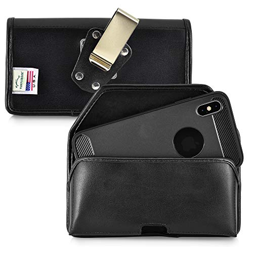 Turtleback Belt Case Designed for iPhone 11 Pro Max (2019) and iPhone Xs MAX (2018) Holster Black Leather Pouch with Heavy Duty Rotating Belt Clip, Horizontal Made in USA