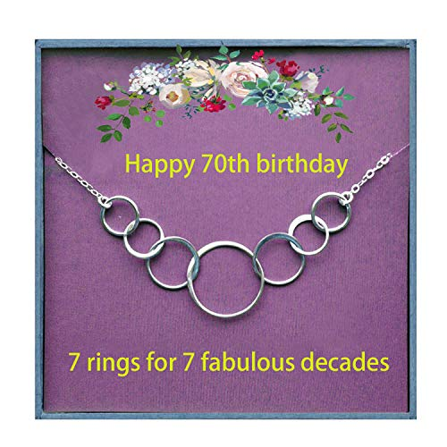 Happy 70th Birthday Necklace Gifts for Girls Sterling Silver Circles for 70 Years Old Jewellery Birthday Cards Present Idea for Women