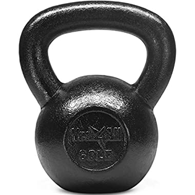 Yes4All Solid Cast Iron Kettlebell Weights Set – Great for Full Body Workout and Strength Training – Kettlebell 60 lbs (Black)