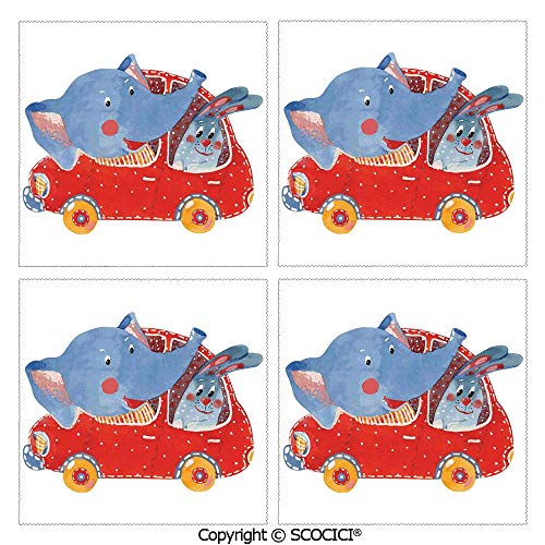 SCOCICI Set of 4 Personalized Printed Table Mats Heat Resistant Placemats Watercolor Sketch of Young Blushed Elephant and Hare in Small Car Best Friend Travel Dining Kitchen Table Mats 12x12 Inch