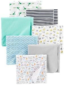Simple Joys by Carter's - Juego de 7 mantas de franela para bebé ,Trucks/Animals/Dino/Whales ,One Size