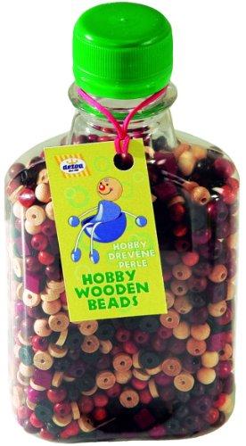 Botella de 1000 cuentas de madera de colores naturales para manualidades infantiles.